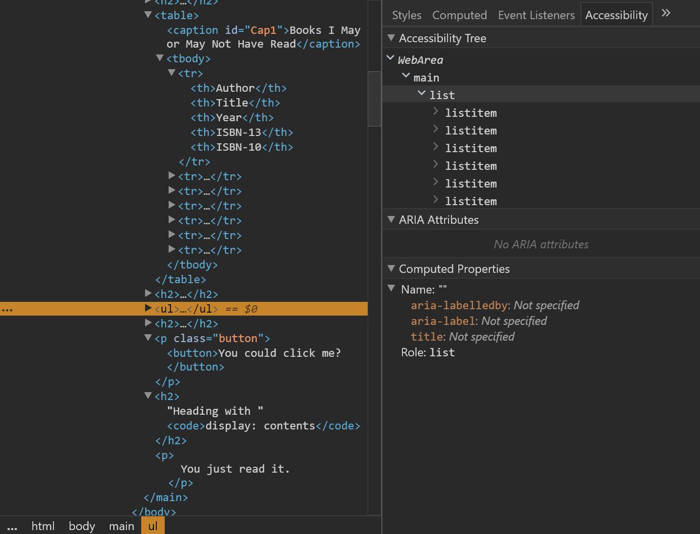 Дерево доступности в Chrome, показывающее список. Дерево доступности в Chrome, показывающее список с display: contents.
