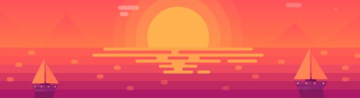 Анимированный пейзаж с закатом