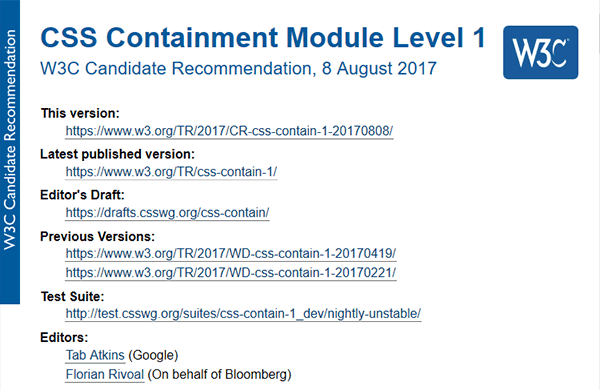 CSS containment CR