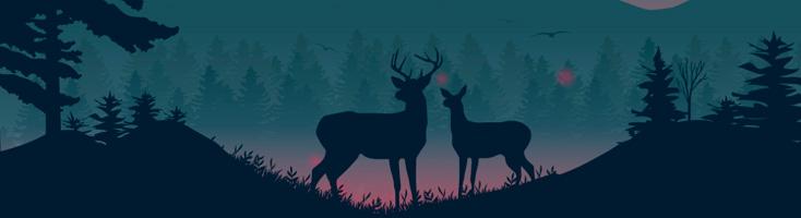 Пейзаж с оленями и анимированным фоном