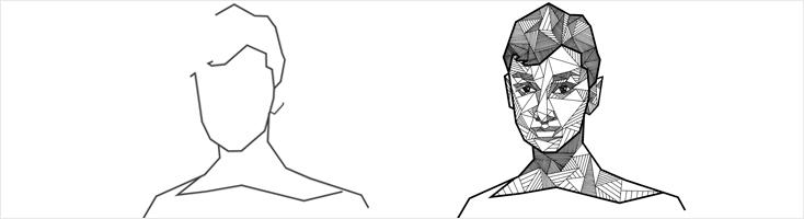 Анимация портрета из геометрических фигур