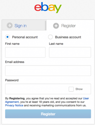Форма регистрации eBay