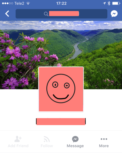 Профиль на фейсбуке с корявой рожицей вместо аватарки