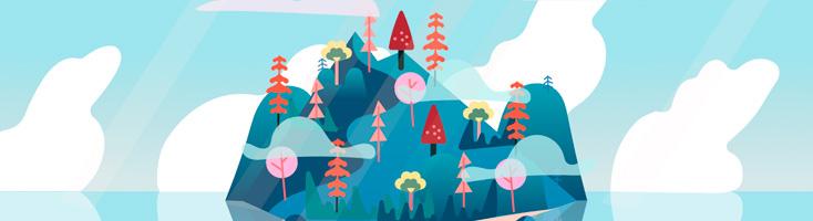 Анимация пейзажа с островом на CSS