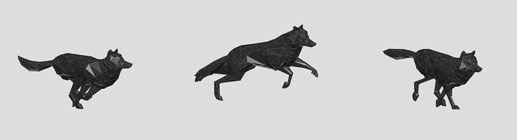 Анимация с бегущим волком