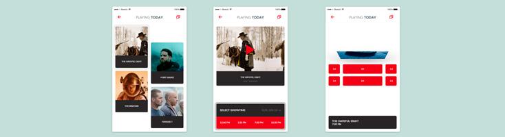 Верстка приложения для бронирования билета в кино на CSS