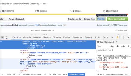 Так выглядят идентичные внешне кнопки и ссылки на Гитхабе в браузерном отладчике.