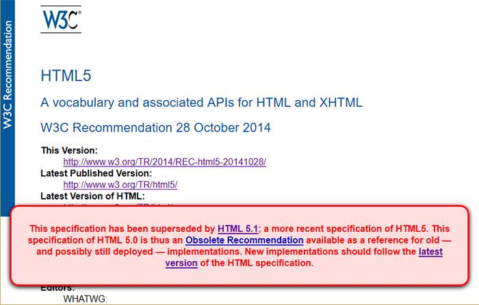 HTML5 с плашкой устаревшей рекомендации
