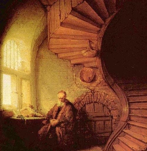 картина Рембрандта «Размышляющий философ»