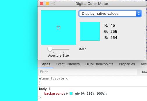 Отображение голубого цвета на iMac