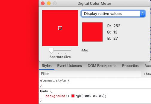 Отобржение красного цвета на iMac